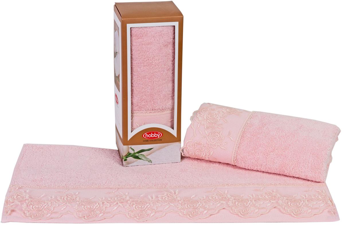 Полотенце махровое Hobby Home Collection Almeda, цвет: пудра, 50 х 90 см полотенце махровое hobby home collection lavinya светло пудра 70x140 1501001475
