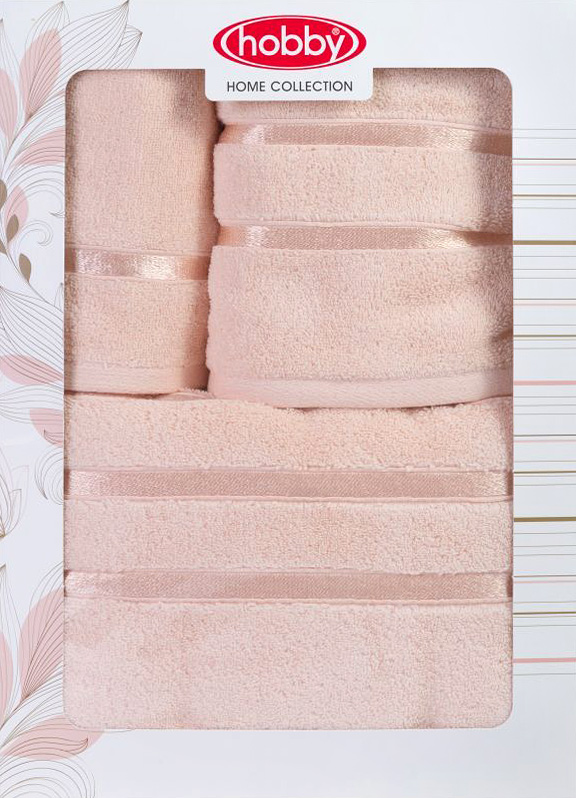 Полотенце махровое Hobby Home Collection Dolce, цвет: персиковый, 30х50 см, 50х90 см, 70х140 см, 3 шт