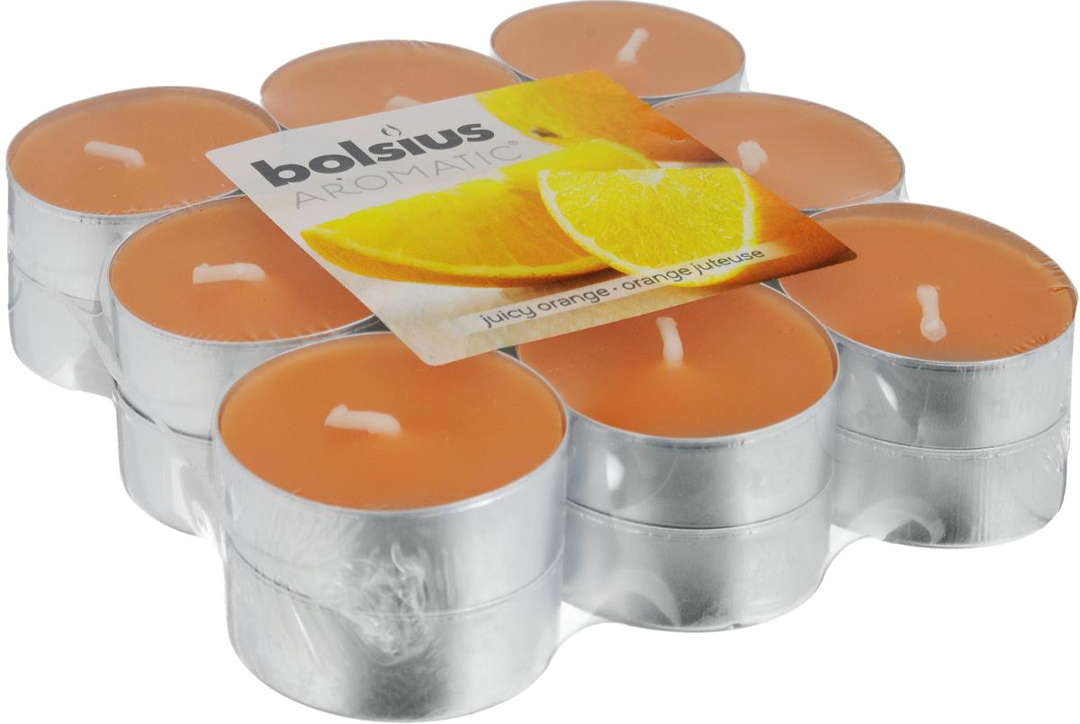 Свеча ароматическая чайная Bolsius Апельсин, 18 шт bolsius свеча ароматическая в стакане пряность 80х70