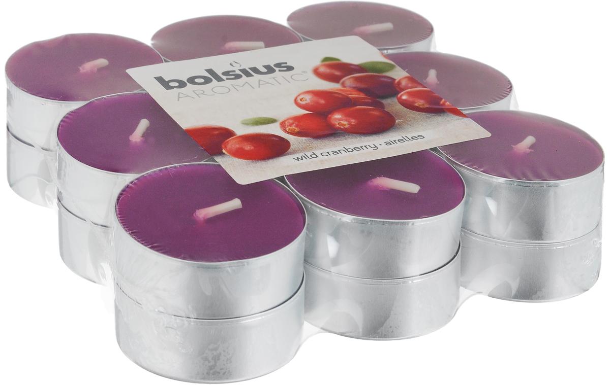 Свеча ароматическая чайная Bolsius Клюква, 18 шт103626949389Свеча ароматическая Bolsius Клюква создаст в доме атмосферу тепла и уюта. Чайная свеча в металлической подставке приятно смотрится в интерьере, она безопасна и удобна в использовании. Свеча создаст приятное мерцание, а сладкий манящий аромат окутает вас и подарит приятные ощущения.Время горения: 4 ч.