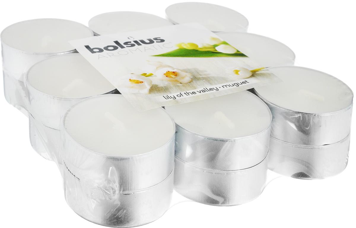 Свеча ароматическая чайная Bolsius Ландыш, 18 шт103626949303Свеча ароматическая Bolsius Ландыш создаст в доме атмосферу тепла и уюта. Чайная свеча в металлической подставке приятно смотрится в интерьере, она безопасна и удобна в использовании. Свеча создаст приятное мерцание, а сладкий манящий аромат окутает вас и подарит приятные ощущения.Время горения: 4 ч.