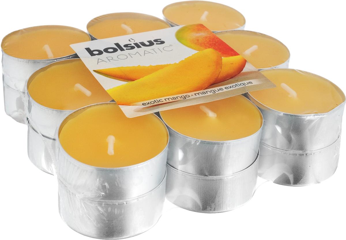 Свеча ароматическая чайная Bolsius Манго, 18 шт103626949310Свеча ароматическая Bolsius Манго создаст в доме атмосферу тепла и уюта. Чайная свеча в металлической подставке приятно смотрится в интерьере, она безопасна и удобна в использовании. Свеча создаст приятное мерцание, а сладкий манящий аромат окутает вас и подарит приятные ощущения.Время горения: 4 ч.