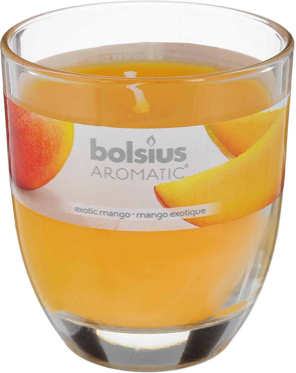 """Ароматизированная свеча Bolsius """"Манго"""" изготовлена из воска и поставляется в подсвечнике в виде стеклянного стакана. Изделие отличается оригинальным дизайном и приятным ароматом. Такая свеча может стать отличным подарком или дополнить интерьер вашей комнаты."""
