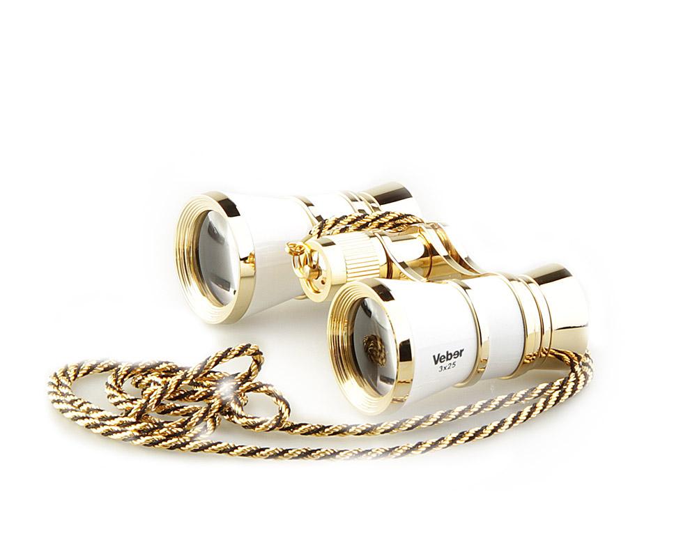 Бинокль Veber Opera, с цепочкой, цвет: белый, БГЦ 3x25 D0110995Светосильный, корпус — металл, оптическое стекло с просветлением. Отделка глянцевым белым лаком и напыленным 18-ти каратным золотом. Регулируемое межзрачковое расстояние, фокусировка, металлическая цепочка. ОПИСАНИЕТеатральный бинокль Veber Opera БГЦ 3x25 - не только изящный аксессуар, но и незаменимый помощник в наблюдениях театральных, цирковых, эстрадных представлений, верный спутник на экскурсиях. Классическая галилеевская оптическая схема с центральной внутренней фокусировкой, заключенная в белый лакированный корпус с позолоченными (18к) элементами. Трехкратное увеличение и широкое поле зрения позволят вам насладиться представлением даже с галерки. Особенности Галилеевская оптическая система Центральная внутренняя фокусировка 3-х кратное увеличение Комплектация Бинокль Футляр-мешочек Ткань для протирки оптики Металлическая цепочка 100 см Руководство по эксплуатации и гарантийный талон Характеристики Увеличение, крат 3 Диаметр объектива, мм 25 Вес, г 190 Цвет белый/золотой