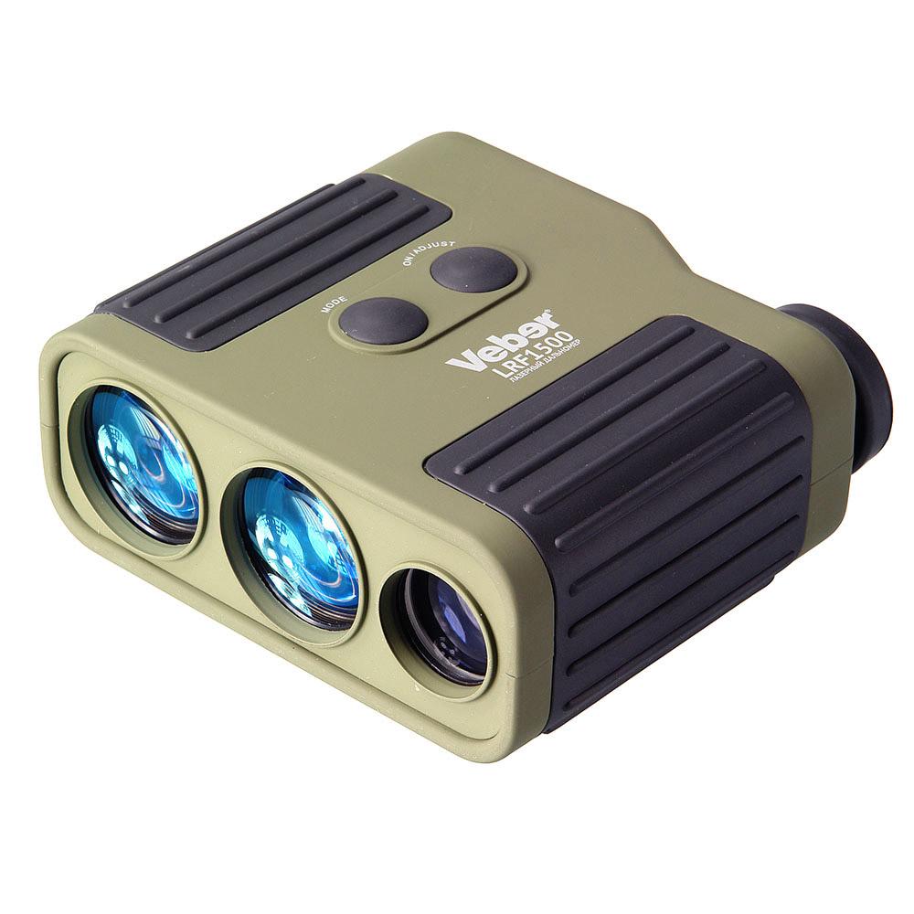 Монокуляр Veber, с дальномером, цвет: зеленый, 7x25 LRF150022374расстояния до цели с учетом работы в различных погодных условиях. Корпус влагозащищенной конструкции имеет покрытие soft-touch с черными рифлеными резиновыми вставками. Окуляр с возможностью диоптрийной коррекции, имеет заворачивающийся резиновый наглазник - для удобства наблюдения в обычных или солнцезащитных очках. Широко применяется в различных сферах деятельности: на охоте и в стрелковых видах спорта (для введения необходимых поправок на нужную дистанцию стрельбы), походах, горном туризме и т.д. Три оптических канала: канал лазера (ИК-диапазона, безопасный для зрения), канал приемника отраженного сигнала, канал монокуляра (диаметр объектива 25 мм, 7х увеличение, ближняя точка фокусировки 4 метра). Наличие раздельных оптических каналов приемника и передатчика позволяет не только повысить точность измерений, но и увеличить дистанцию измерения при неблагоприятных условиях наблюдения. С этой же целью увеличены и диаметры объективов приемника и передатчика лазерного луча, светосила 35 мм объективов в два раза выше по сравнению с такими же линзами диаметра 25 мм. Эргономичные элементы управления и быстродействующая LCD индикация не позволят упустить цель. Питание лазерного дальномера осуществляется от батарейки типа Крона (в комплект не входит). Две кнопки позволяют управлять всеми функциями дальномера, интуитивный интерфейс поможет быстро выбрать режим и произвести замер дистанции. Точное наведение на цель.Veber 7x25 LRF1500 определяет расстояние до цели на удалении до 1500 м. В некоторых случаях максимальное расстояние может быть меньше или больше, это зависит от многих факторов - угол падения луча, освещенность, атмосферные условия, структура и цвет объекта. Для достижения лучших результатов необходимы следующие условия: четкая видимость (атмосфера прозрачная, без осадков), нет ясного солнца (сумерки), цвет поверхности белый (светлый), поверхность расположена перпендикулярно к лучу замера, однородная с