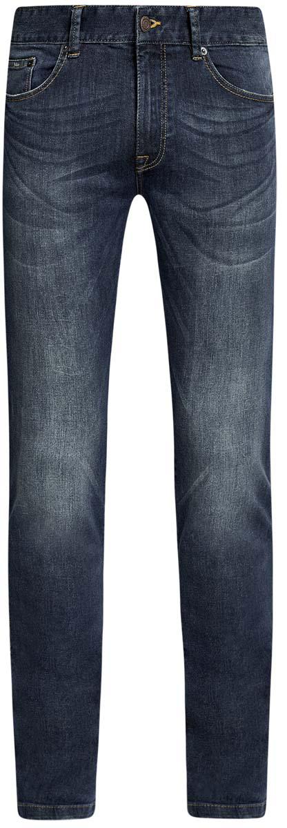 Джинсы мужские oodji, цвет: синий джинс. 6B120042M/45808/7500W. Размер 30-32 (46/48-32)6B120042M/45808/7500WСтильные мужские джинсы oodji изготовлены из хлопка с добавлением полиуретана.Джинсы-слим средней посадки застегиваются на пуговицы и молнию. На поясе имеются шлевки для ремня. Спереди модель дополнена двумя втачными карманами и одним небольшим накладным кармашком, а сзади - двумя накладными карманами. Модель оформлена эффектом потертости и перманентными складками.