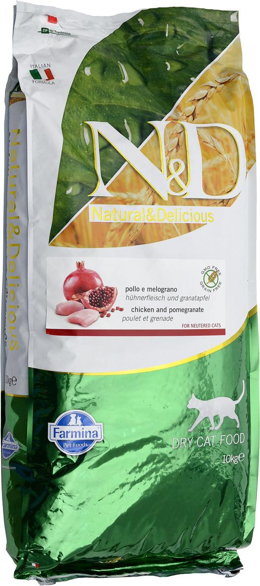 Корм сухой Farmina N&D для стерилизованных кошек и кастрированных котов, беззерновой, с курицей и гранатом, 10 кг00747Сухой корм Farmina N&D - беззерновое полнорационное питание для стерилизованных кошек и кастрированных котов. Продукт имеет высокое содержание витаминов и питательных веществ. Сухой корм содержит натуральные компоненты, которые необходимы для полноценного и здорового питания домашних животных.Товар сертифицирован.