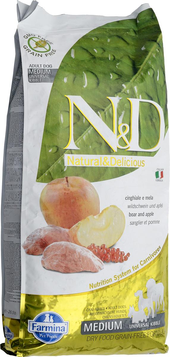 Корм сухой Farmina N&D, для взрослых собак, с кабаном и яблоком, 12 кг20390Сухой корм Farmina N&D является беззерновым и сбалансированным питанием для взрослых собак пород. Изделие имеет высокое содержание витаминов и питательных веществ. Сухой корм содержит натуральные компоненты, которые необходимы для полноценного и здорового питания домашних животных.Товар сертифицирован.