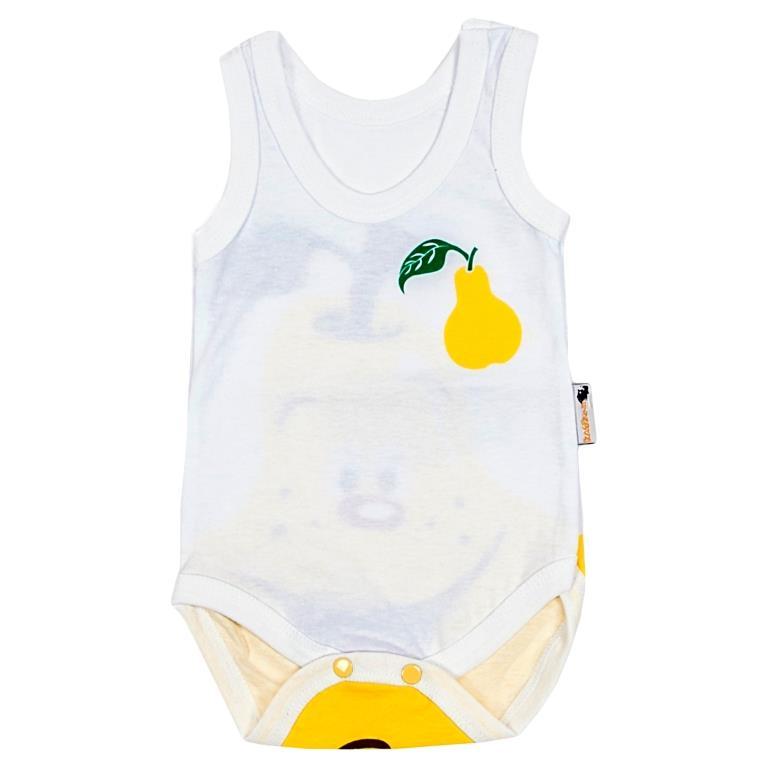 Боди-майка для мальчика Клякса Груша, цвет: белый, желтый. 11Г-301. Размер 80 jetem каталка jetem dinosauros world tolocar оранжевая