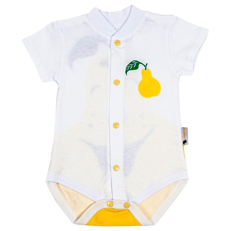 Боди детское Клякса Груша, цвет: белый, желтый. 11Г-325. Размер 80 боди детское happy baby цвет белый мятный 2 шт 90005 размер 74 80