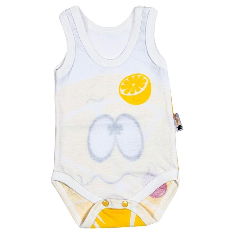 Боди-майка для мальчика Клякса Лимон, цвет: белый, желтый. 11Л-301. Размер 80 комбинезон детский клякса лимон цвет белый желтый 11л 528 размер 80