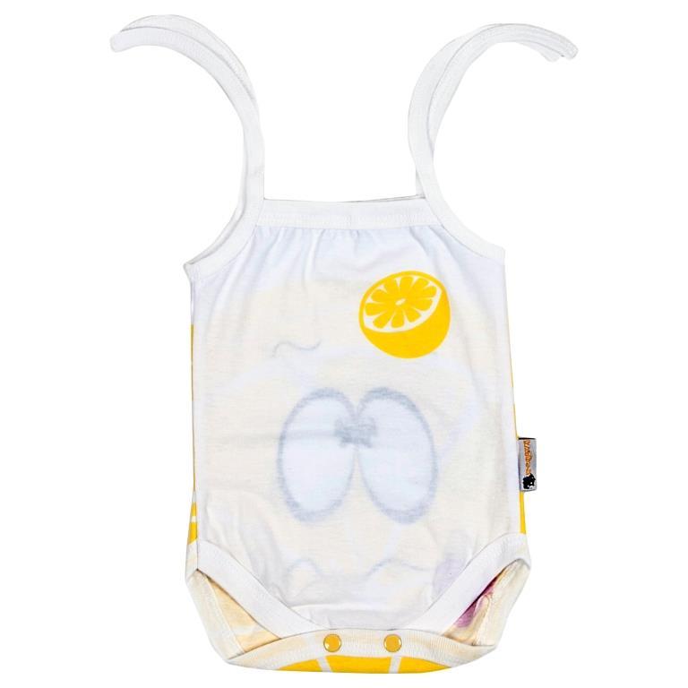 Боди-майка для девочки Клякса Лимон, цвет: белый, желтый. 11Л-303. Размер 80 красное боди emma xxl 3xl