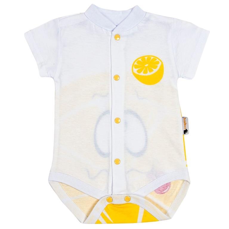 Боди детское Клякса Лимон, цвет: белый, желтый. 11Л-325. Размер 80 боди детское happy baby цвет белый мятный 2 шт 90005 размер 74 80