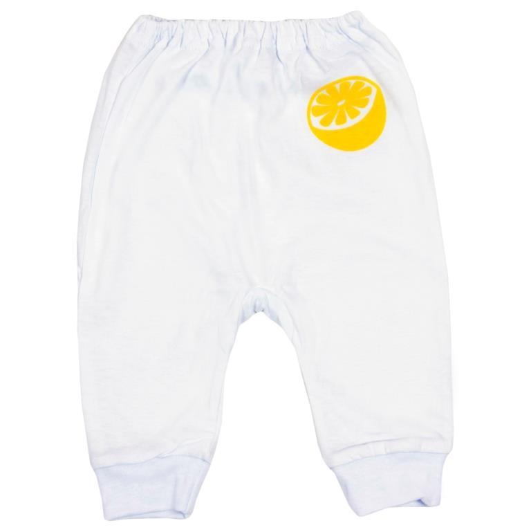 Штанишки Клякса Лимон, цвет: белый, желтый. 11Л-507. Размер 6211Л-507Штанишки Клякса Лимон выполнены из натурального хлопка.Штанишки, оформленные оригинальным принтом, благодаря мягкому эластичному поясу не сдавливают животик малыша и не сползают, идеально подходят для ношения с подгузником и без него. Снизу они дополнены широкими трикотажными манжетами. Штанишки полностью соответствуют особенностям жизни ребенка в ранний период, не стесняя и не ограничивая его в движениях.