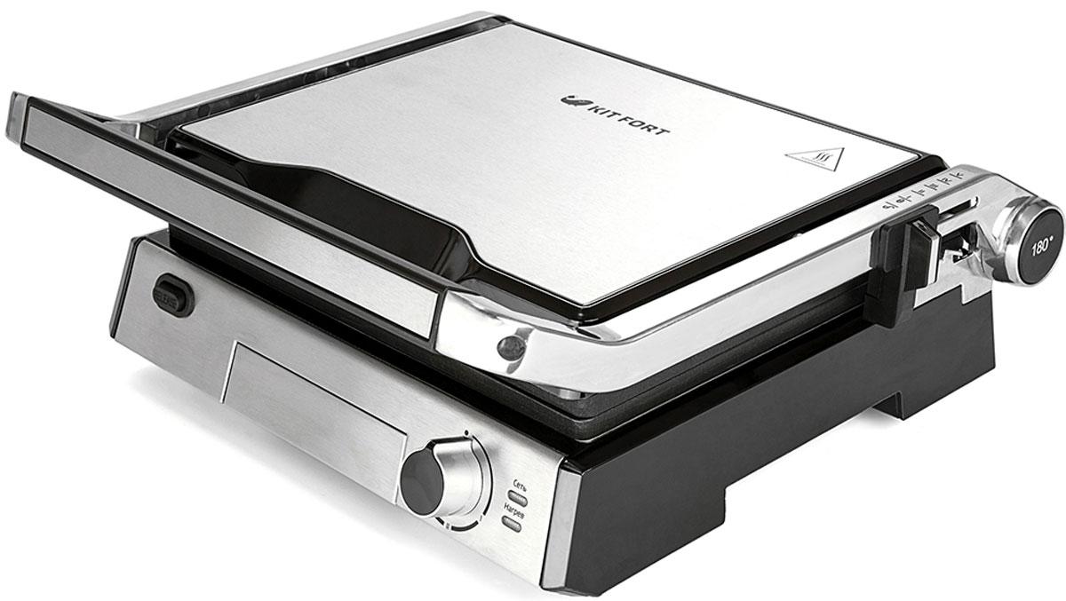 Kitfort КТ-1601 электрогрильКТ-1601Контактный электрический гриль Kitfort КТ-1601 позволяет приготовлять стейки, овощи, рыбу, бутерброды, гренки имногое другое. Ребристая поверхность рабочих пластин и высокая температура приготовления способствуютудалению излишков жира из продуктов.Конструкция 3 в 1 позволяет использовать гриль в трех режимах. В двухстороннем режиме гриль закрываетсякрышкой, и продукты готовятся одновременно с двух сторон. В режиме с приподнятой крышкой верхняя крышканависает над готовящимися продуктами, но не касается их. Это бывает необходимо в случае, если требуетсядвусторонний нагрев, но куски продуктов имеют неодинаковую толщину, либо если требуется исключитьдавление крышки на них. Например, в этом режиме можно приготовить бутерброд или разогреть пиццу.В одностороннем режиме крышка гриля откидывается на 180 градусов, и гриль превращается в большую жаровню.Для приготовления можно использовать обе поверхности.Гриль оснащен термостатом с плавной регулировкой, позволяющим выставить температуру вплоть до 230 °C.Нагревательные панели изготовлены из алюминия с нанесенным антипригарным покрытием. Они съемные и могутбыть легко очищены. Допускается их мойка в посудомоечной машине.Съемные рабочие панели Материал рабочей поверхности: алюминий с нанесенным антипригарным покрытием