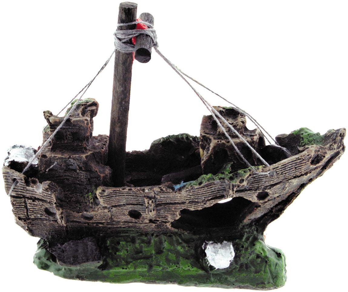 Декорация для аквариума Dezzie Лодка. Креветка, 15 х 6 х 13 см5626038Грот в виде затонувшей лодки - настоящая находка для обитателей аквариума, которые в восторге от укромных мест. Такой аквадекор всегда будет привлекать внимание в доме, создавая таинственную и неповторимую атмосферу подводного мира.