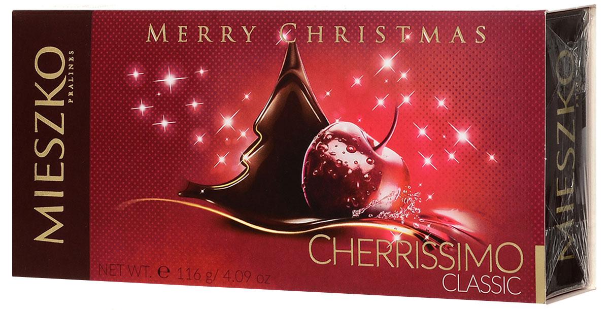 Mieszko Конфеты Черриссимо Новый год, 116 г15945Шоколадные конфеты Черрисимо - это набор шоколадных конфет с начинкой. Каждая конфета изготовлена из натурального шоколада, с начинкой из вишни в ликере. Удобная и красочная упаковка делают эти конфеты не только прекрасным лакомством, но и отличным подарком для родных и близких.Уважаемые клиенты! Обращаем ваше внимание, что полный перечень состава продукта представлен на дополнительном изображении.Уважаемые клиенты! Обращаем ваше внимание на то, что упаковка может иметь несколько видов дизайна. Поставка осуществляется в зависимости от наличия на складе.