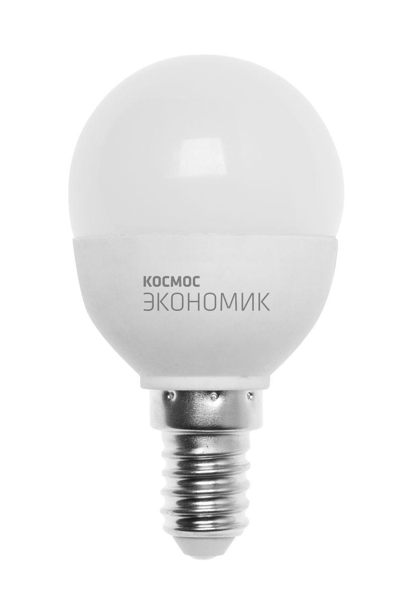 Лампа светодиодная Космос Шарик, 220V, теплый свет, цоколь Е14, 6.5WLkecLED6.5wGL45E1430Декоративная светодиодная лампа Шарик является аналогом лампы накаливания 50 Вт. В основе лампы используются чипы от мирового лидера Epistar- что обеспечивает надежную и стабильную работу в течение всего срока службы (25 000 часов). До 90% экономии энергии по сравнению с обычной лампой накаливания (сопоставимы по размеру). Стабильный световой поток в течение всего срока службы; экологическая безопасность (не содержит ртути и тяжелых металлов). Мягкое и равномерное распределение света повышает зрительный комфорт и снижает утомляемость глаз. Благодаря высокому индексу цветопередачи свет лампы комфортен и передает естественные цвета и оттенки. Инструкция по эксплуатации и гарантийный талон - в комплекте.