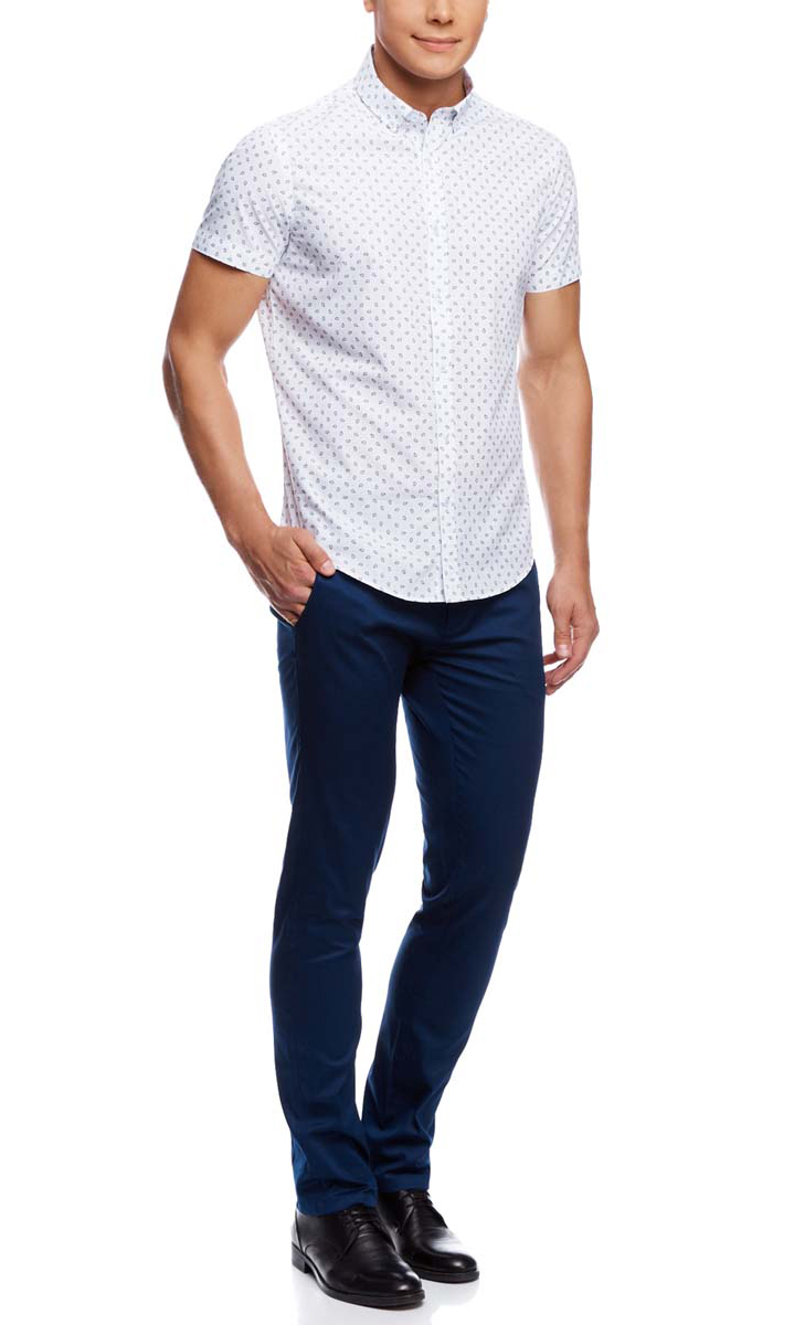 Рубашка мужская oodji, цвет: белый, темно-синий. 3L210036M/19370N/1079E. Размер 41-182 (50-182)
