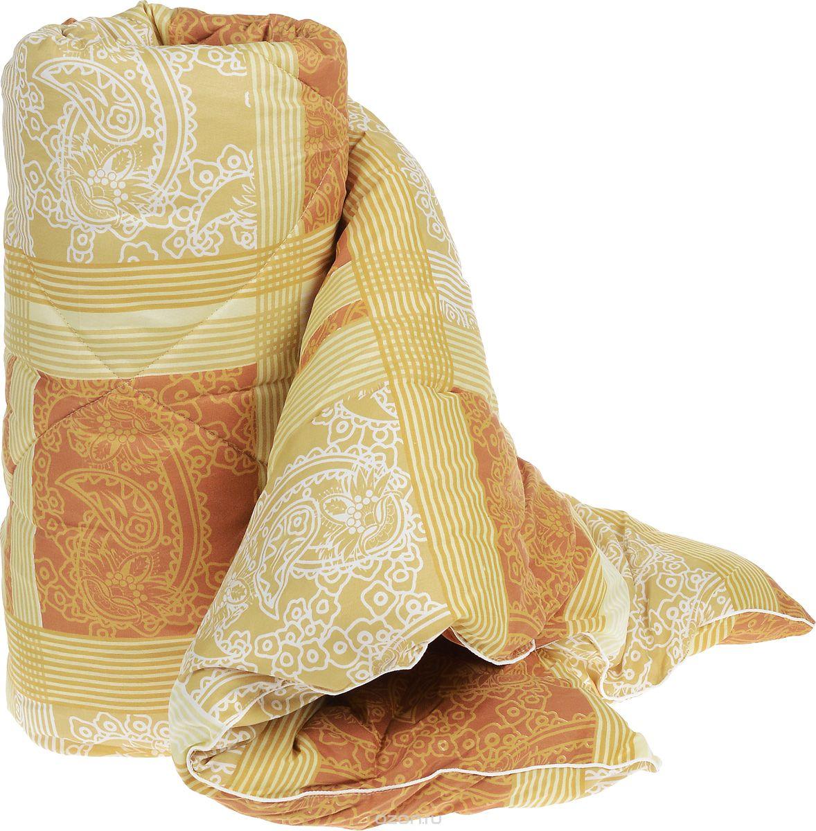 """Теплое стеганое одеяло Легкие сны """"Золотое руно"""" с наполнителем из  овечьей шерсти расслабит, снимет усталость и  подарит вам спокойный и здоровый сон.  Шерстяные волокна, получаемые из овечьей шерсти, имеют полую структуру, придающую  изделиям высокую износоустойчивость. Чехол одеяла, выполненный из смесовой ткани отлично пропускает воздух, создавая эффект  сухого тепла. Одеяло простегано. Стежка надежно  удерживает наполнитель внутри и не позволяет ему  скатываться.  Рекомендации по уходу: Отбеливание, стирка, барабанная сушка и глажка запрещены. Разрешается химчистка. Уважаемые клиенты!  Товар поставляется в цветовом ассортименте. Поставка осуществляется в зависимости от наличия на складе."""