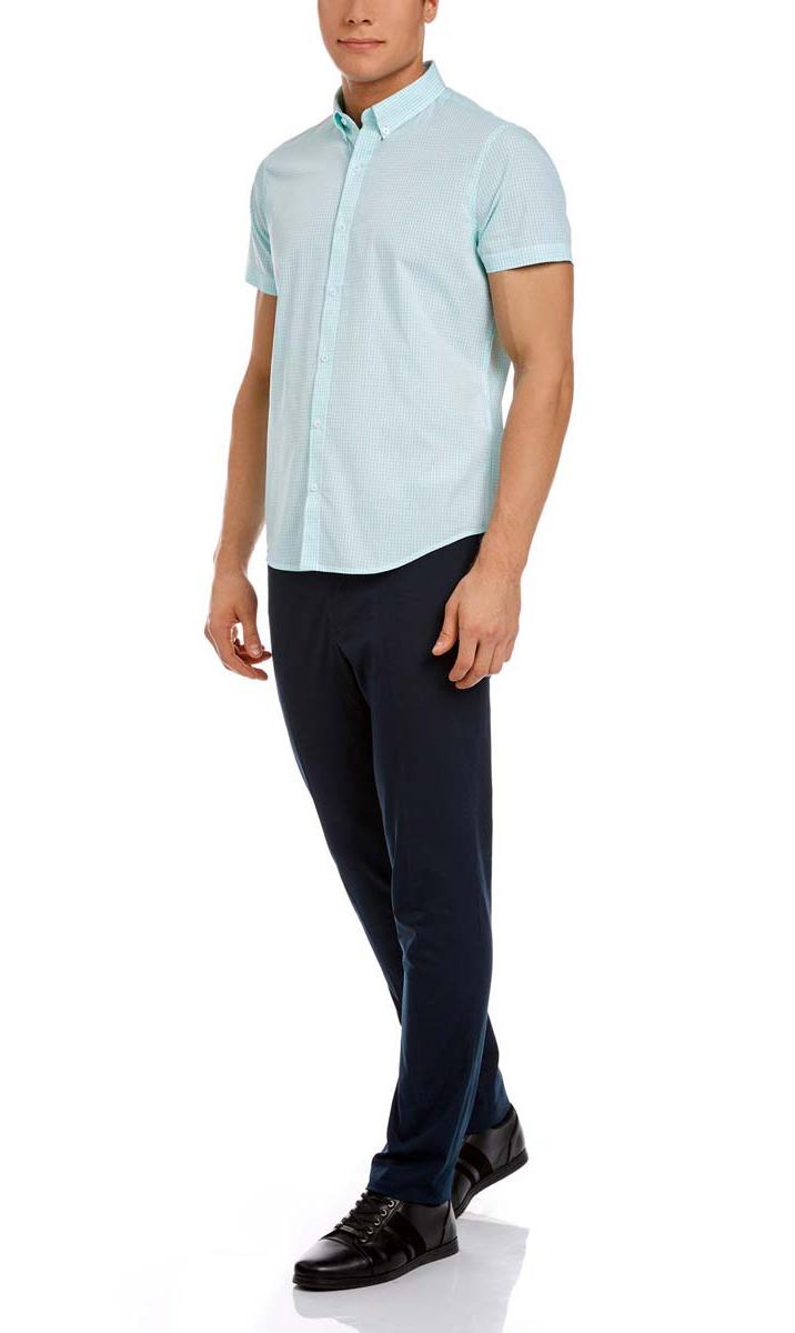 Рубашка мужская oodji, цвет: белый, морская волна. 3L210030M/44192N/106CC. Размер 40-182 (48-182)