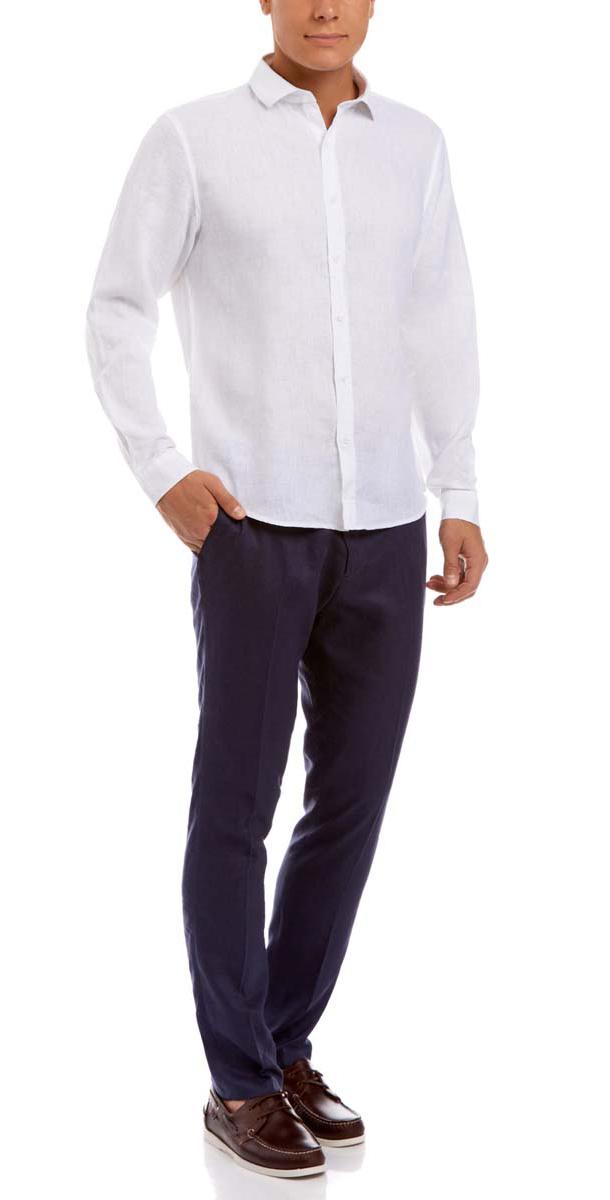 Рубашка мужская oodji Basic, цвет: белый. 3B110010M/44224N/1000N. Размер 38 (44-182)3B110010M/44224N/1000NСтильная мужская рубашка oodji Basic, выполнена из натурального льна. Модель-слим с отложным воротником и длинными рукавами застегивается на пуговицы по всей длине. Манжеты рукавов оснащены застежками-пуговицами.