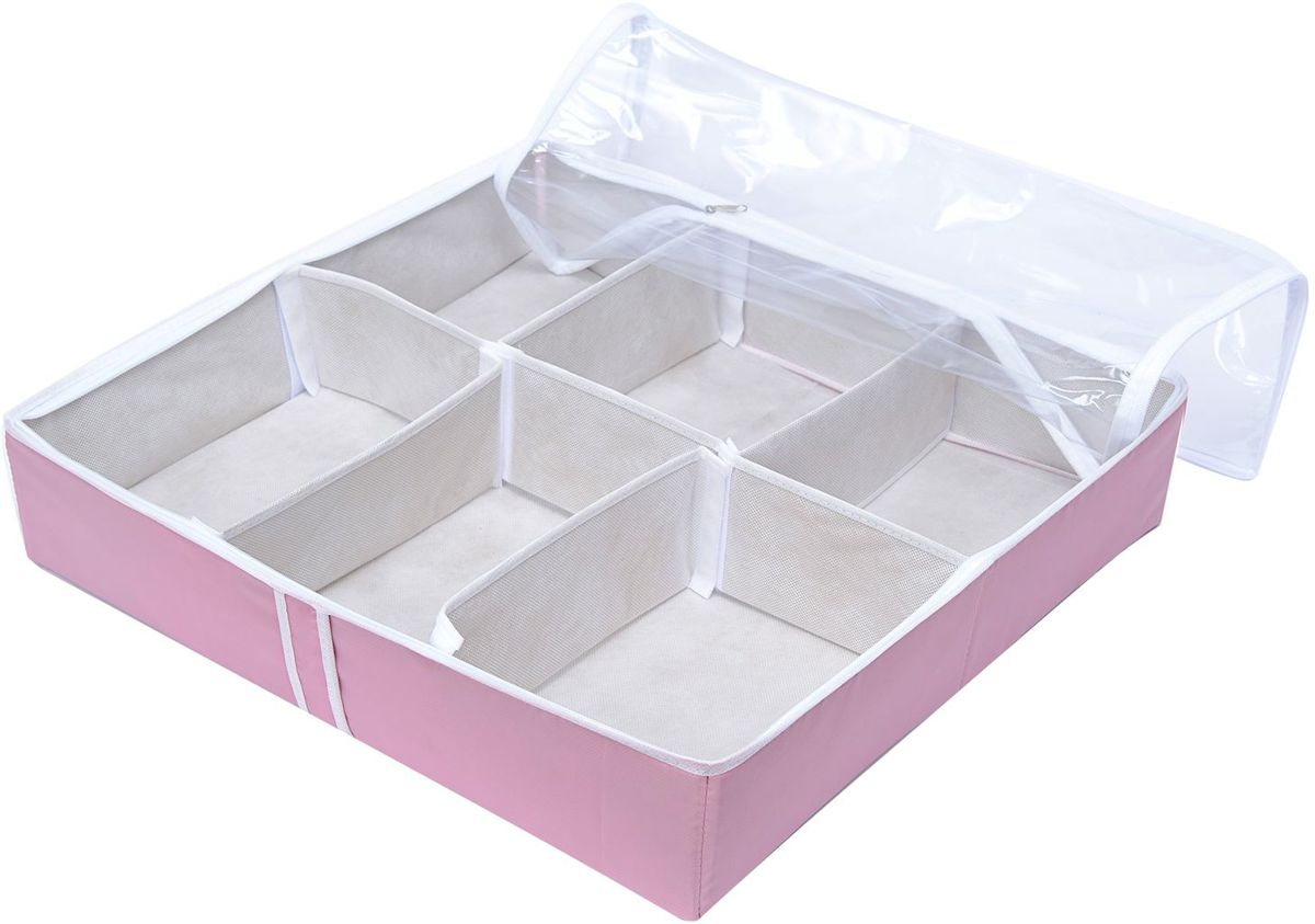 Органайзер Homsu Capri, для обуви, цвет: розовый, 54 х 29 х 2 смHOM-749Органайзер Homsu  Capri выполнен из высококачественного материала. Очень удобный способ хранить сезонную обувь. Шесть отделений вмещают 6 пар обуви, высокий каблук, сапожки. Органайзер плоский, удобно хранить под кроватью или диваном. Внутренние секции можно моделировать под размеры обуви, например высокие сапоги. Имеет жесткие борта, что является гарантией сохранности вещей.