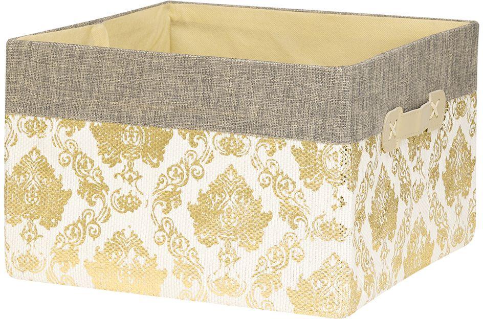 Кофр для хранения EL Casa Золотой узор, складной, 30 х 30 х 20 см280039Компактный складной кофр EL Casa Золотой узор изготовлен из высококачественного полиэстера, который обеспечивает естественную вентиляцию, позволяя воздуху проникать внутрь, не пропуская пыль. Благодаря специальным вставкам, кофр прекрасно держит форму, а эстетичный дизайн гармонично смотрится в любом интерьере. Легко складывается и раскладывается, имеет ручки для удобства.