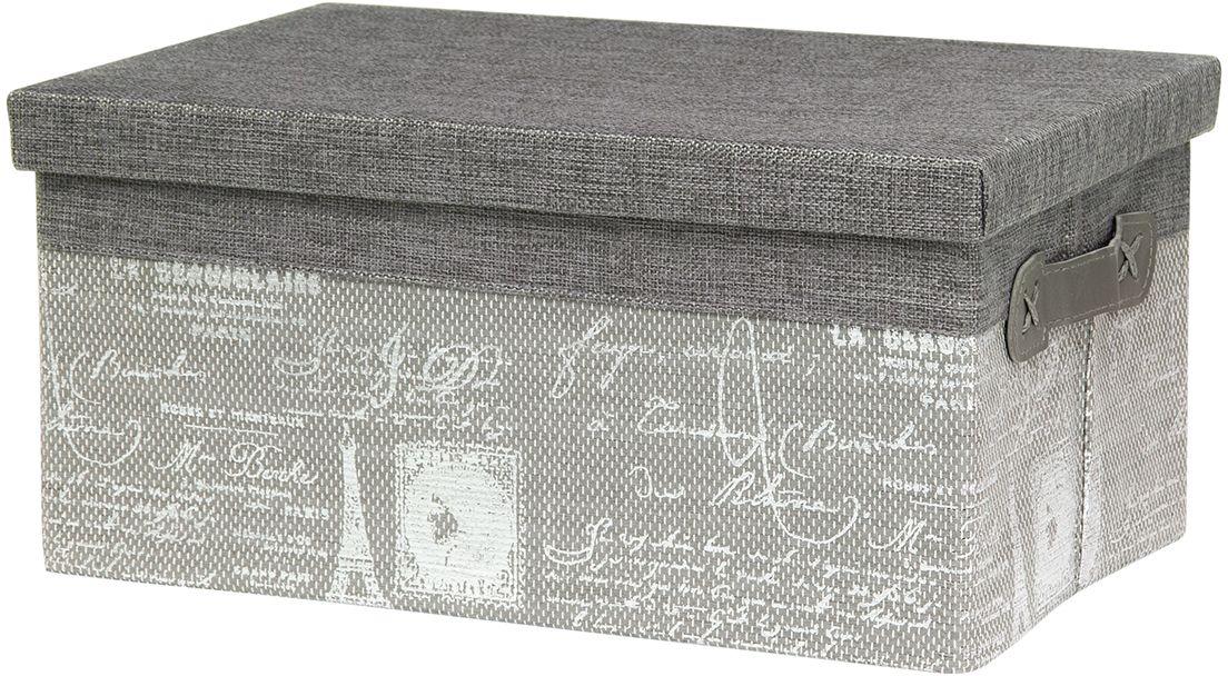 Кофр для хранения EL Casa Париж. Серебро, складной, с крышкой, 35 х 23 х 17 см280048Компактный складной кофр EL Casa Париж. Серебро изготовлен из высококачественного полиэстера, который обеспечивает естественную вентиляцию, позволяя воздуху проникать внутрь, не пропуская пыль. Благодаря специальным вставкам, кофр прекрасно держит форму, а эстетичный дизайн гармонично смотрится в любом интерьере. Легко складывается и раскладывается, имеет ручки для удобства. Также кофр оснащен крышкой, которая защитит от пыли и солнечных лучей.