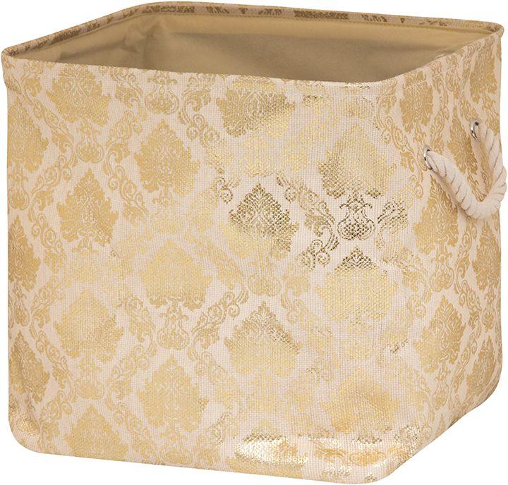 Кофр для хранения EL Casa Золотой узор, складной, 40 х 35 х 40 см280074Компактный складной кофр EL Casa Золотой узор изготовлен из высококачественного полиэстера, который обеспечивает естественную вентиляцию, позволяя воздуху проникать внутрь, не пропуская пыль. Изделие не имеет жестких вставок, при этом держит форму и имеет эстетичный вид и отлично смотрится в любом интерьере. Легко складывается и раскладывается, имеет ручки для удобства.