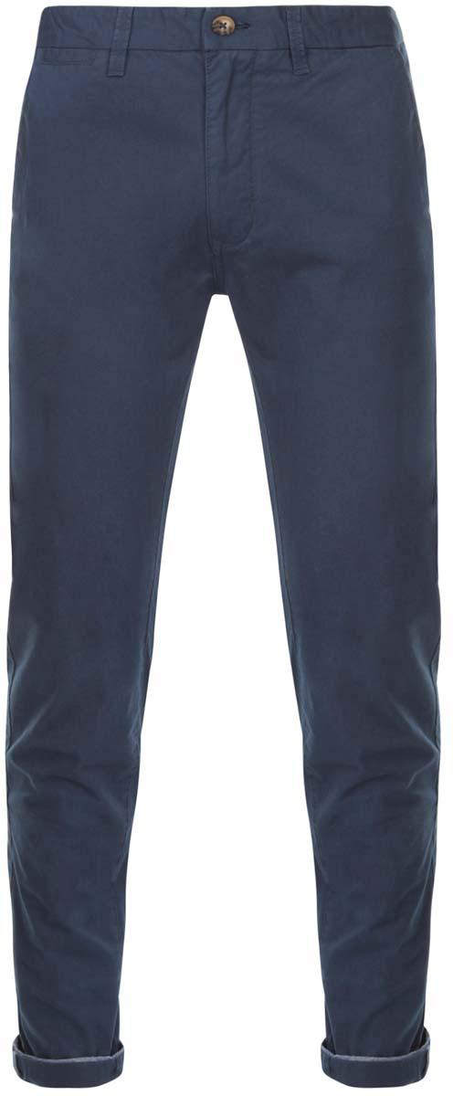 Брюки мужские oodji Lab, цвет: темно-синий. 2L150067M/44264N/7900N. Размер 48-182 (56-182)2L150067M/44264N/7900NМужские брюки oodji Lab выполнены из натурального хлопка. Модель застегивается на пуговицу в поясе и ширинку на молнии. Имеются шлевки для ремня. Спереди расположены два втачных кармана и прорезной кармашек, сзади - два прорезных кармана на пуговицах, а также имитация прорезного кармашка.Изделие сзади оформлено фирменной текстильной нашивкой.При необходимости брюки можно подвернуть.