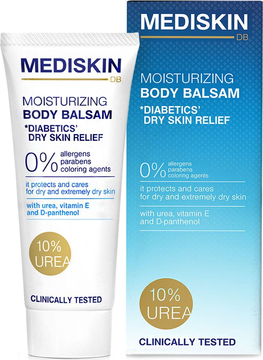 Увлажняющий бальзам для тела с 10% мочевиной Mediskin для диабетиков 200 мл, (Болгария)4650001795342Увлажняющий бальзам для тела с 10% мочевиной для диабетиков, предназначение: для ежедневного ухода за сухой, очень сухой, шелушащейся и увядающей кожей. Не содержит аллергенов, парабенов и красителей, которые могут вызвать раздражение. ДЕЙСТВИЕ: мгновенно увлажняет и смягчает очень сухую кожу. Сокращает потери влаги в глубоких слоях кожи и способствует усилению защитных функций кожи. АКТИВНЫЕ КОМПОНЕНТЫ: 1. МОЧЕВИНА - высокое содержание мочевины защищает кожу от чрезмерной сухости и обеспечивает увлжанение. Способствует уменьшению покраснений, зуда и общего дискомфорта кожи. 2. D-PANTHENOL - увлажняет и успокаивает кожу, проникает в глубокие слои кожи и стимулирует образование новых клеток. 3. ЭМУЛИЕНТЫ успокаивают раздраженную кожу, помогают сохранить ее в хорошем состоянии. 4. ВИТАМИН Е - мощный антиаксидант, способствующий борьбе со свободными радикалами, обладает противовосполительным действием. ПРИМИНЕНИЕ: нанесите легкими массажными движениями на все тело или только на пострадавшие участки. Регулярное приминение усиливает эффект.