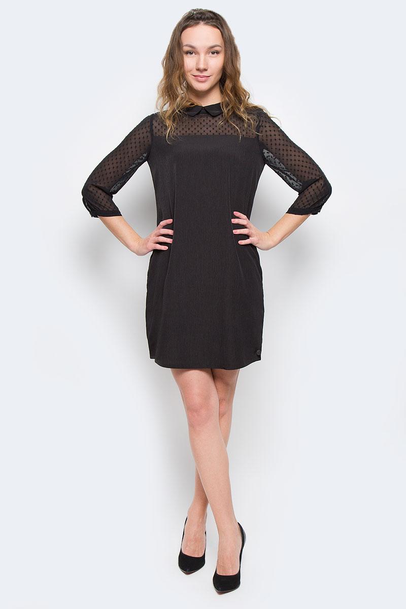 Платье Tom Tailor Denim, цвет: черный. 5019586.00.71_2999. Размер M (46)5019586.00.71_2999Модное платье Tom Tailor Denim, изготовленное из высококачественного полиэстера, приятное на ощупь, не сковывает движения и обеспечивает комфорт.Модель-миди свободного кроя с отложным воротником и рукавами 3/4 застегивается на застежку-молнию, расположенную на спинке. Манжеты рукавов оснащены застежками-пуговицами.