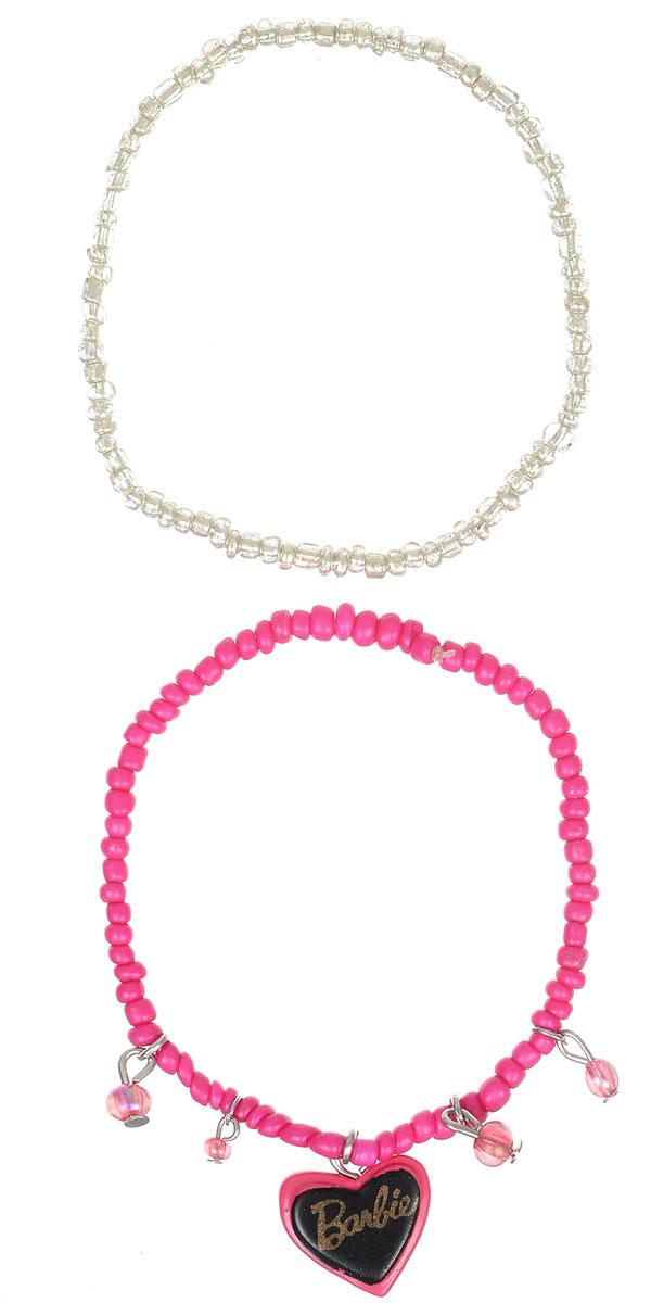 Браслет для девочки Barbie, цвет: серебристый, розовый, 2 шт. 0905104139881|Браслет с подвескамиОригинальный браслет Barbie станет изюминкой образа юной леди. Изделие изготовлено из гипоаллергенных материалов, не имеет заостренных деталей и абсолютно безопасно для ребенка.В комплекте идут два браслета. Браслеты выполнены из бусин, собранных на эластичной резинке. Одно из изделий декорировано подвеской в виде сердечка с символикой бренда. Рекомендуемый возраст: от 3х лет.