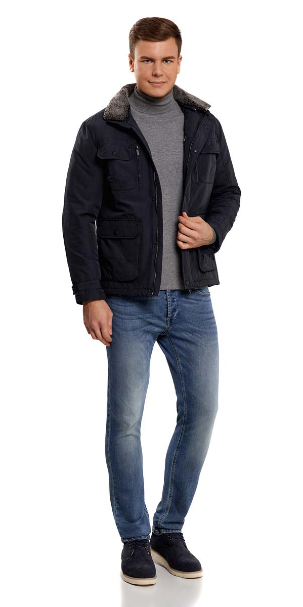 Куртка мужская oodji, цвет: темно-синий. 1L411003M/34716N/7900N. Размер XL (56-182)1L411003M/34716N/7900NМужская куртка oodji изготовлена из хлопка с добавлением полиэстера. В качестве подкладки и утеплителя используется полиэстер. Модель застёгивается на застежку-молнию и кнопки. Воротник дополнен карманом, в котором спрятан тонкий капюшон с резинкой-утяжкой и фиксаторами. У изделия имеется отстегивающийся второй воротник с искусственным мехом. Спереди расположены четыре кармана под клапанами на кнопках, два врезных кармана на молниях и два врезных открытых кармана. С внутренней стороны - прорезной карман на застежке-молнии. Ширина манжет регулируется хлястиком на кнопках.