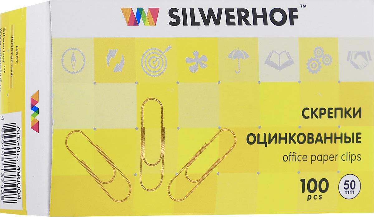 Silwerhof Скрепки цвет золотистый50 мм 100 шт490004Скрепки Silwerhof - это незаменимый офисный инструмент для скрепления бумажных носителей.Они изготовлены из высококачественной стали с золотистым покрытием и совершенно безопасны при использовании по назначению.Не требуют особых условий хранения.