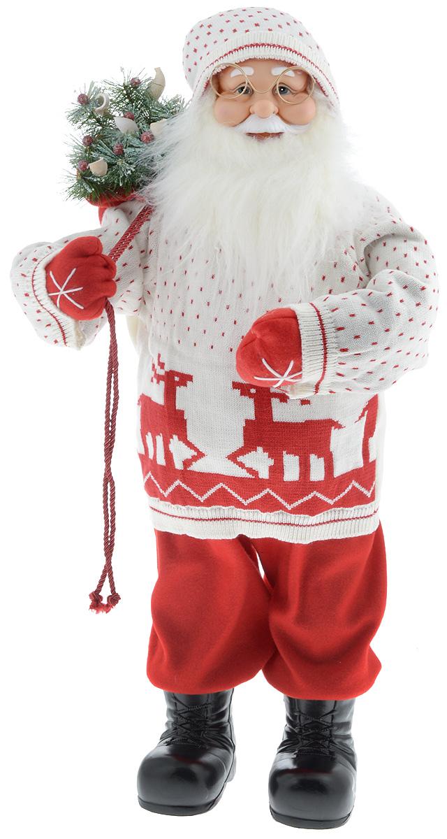 """Декоративная фигурка """"Дед Мороз с мешком"""" изготовлена из высококачественных материалов в оригинальном стиле. Фигурка выполнена в виде Деда Мороза с мешком подарков. Уютная  и милая интерьерная игрушка предназначена для взрослых и детей, для игр и украшения новогодней елки, да и просто, для создания праздничной атмосферы  в интерьере!  Фигурка прекрасно украсит ваш дом к празднику, а в остальные дни с ней с удовольствием будут играть дети. Оригинальный дизайн и красочное исполнение создадут праздничное настроение. Фигурка создана вручную, неповторима и оригинальна.  Порадуйте своих друзей и близких этим замечательным подарком!"""