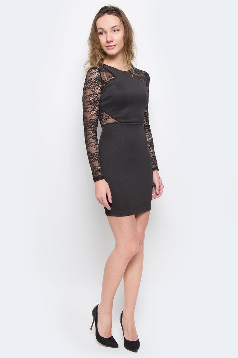 Платье Tally Weijl, цвет: черный. SDRSCCIACI HH/BLK001. Размер 38 (44)SDRSCCIACI HH/BLK001Элегантное платье Broadway изготовлено из высококачественного эластичного полиэстера. Такое платье обеспечит вам комфорт и удобство при носке.Модель с длинными рукавами и круглым вырезом горловины выгодно подчеркнет все достоинства вашей фигуры благодаря приталенному силуэту. Платье застегивается на застежку-молнию на спинке. Рукава платья выполнены из кружевной полупрозрачной ткани. Изделие оформлено кружевными вставками на талии. Изысканное платье-миди с пришивной юбкой создаст обворожительный и неповторимый образ.Это модное и удобное платье станет превосходным дополнением к вашему гардеробу, оно подарит вам удобство и поможет вам подчеркнуть свой вкус и неповторимый стиль.