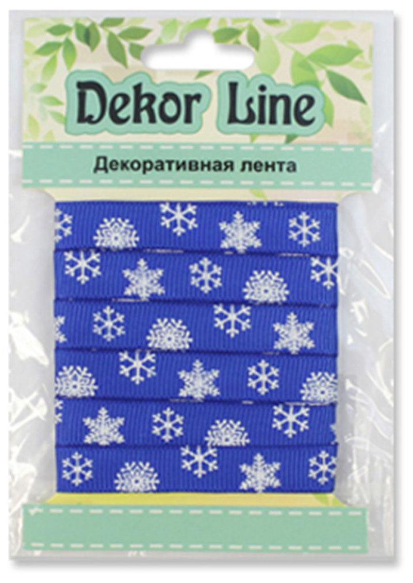 "Лента репсовая Xiamen MidiRibbons ""Снежинки"", цвет: синий, 10 мм х 3 м"