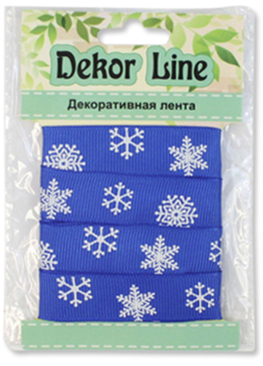 "Лента репсовая Xiamen MidiRibbons ""Снежинки"", цвет: синий, 15 мм х 3 м"