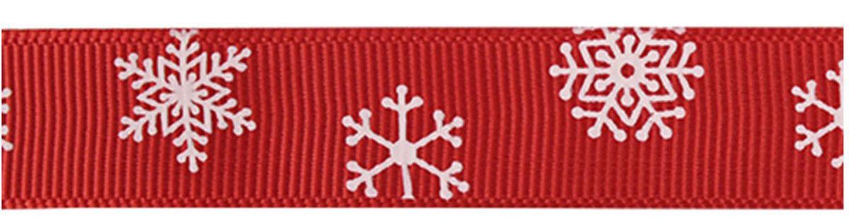 Лента репсовая Xiamen MidiRibbons Снежинки, цвет: красный, 15 мм х 22,5 м7710451_красный