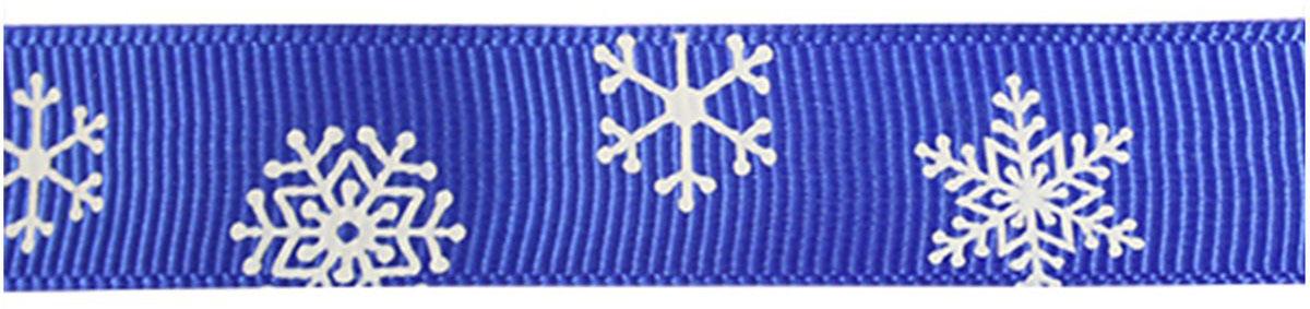 Лента репсовая Xiamen MidiRibbons Снежинки, цвет: синий, 15 мм х 22,5 м7710451_синий