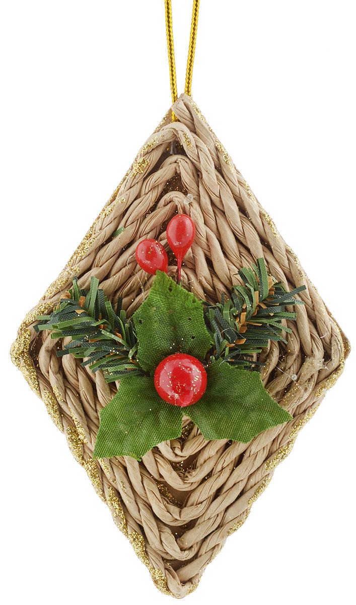 Украшение новогоднее подвесное House & Holder Ромбик, высота 10,5 смN3-38/45A_Украшение новогоднее подвесное House & Holder Ромбик прекрасно подойдет для праздничного декора новогодней ели. Изделие выполнено из плотного картона и плетеной бумаги в форме ромба, покрыто блестками и украшено аппликацией в виде листочков с ягодкой. Для удобного размещения на елке предусмотрена текстильная петелька. Елочная игрушка - символ Нового года. Она несет в себе волшебство и красоту праздника. Создайте в своем доме атмосферу веселья и радости, украшая новогоднюю елку нарядными игрушками, которые будут из года в год накапливать теплоту воспоминаний.