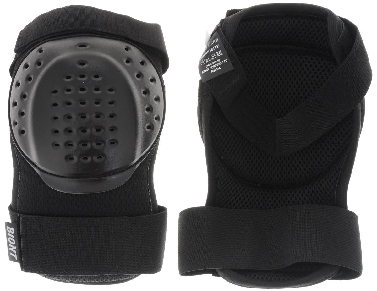"""Дышащая композитная защита колена """"Biont"""" защитит вас от травмирования ног. Выполнена из текстиля и прочного пластика. Профилированная по форме колена чашка из ударопрочного пластика встроена в амортизационную композиционную конструкцию защиты. Она не стеснит ваших движений. Защита закрепляется на ноге при помощи эластичных лент на липучке."""