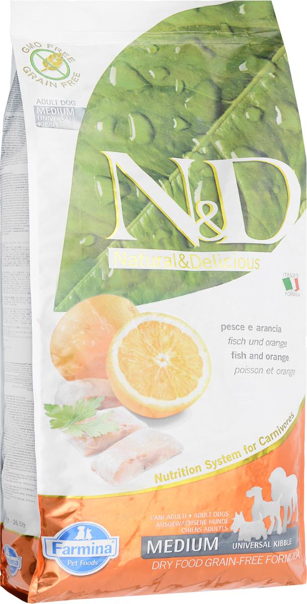 Корм сухой беззерновой Farmina N&D для собак, с рыбой и апельсином, 12 кг корм для собак хиллс d d при аллергии утка рис сух пак 5кг