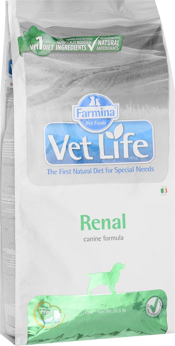 Корм сухой Farmina Vet Life для собак, диетический, для поддержания функции почек, в случаях почечной недостаточности, 12 кг корм сухой диетический farmina vet life для кошек для лечения и профилактики рецидивов струвитного уролитиаза и идиопатического цистита 10 кг