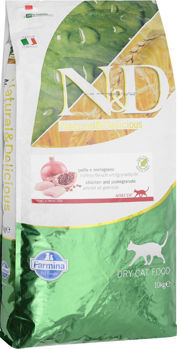 Корм сухой беззерновой Farmina N&D для взрослых кошек, с курицей и гранатом, 10 кг farmina farmina n