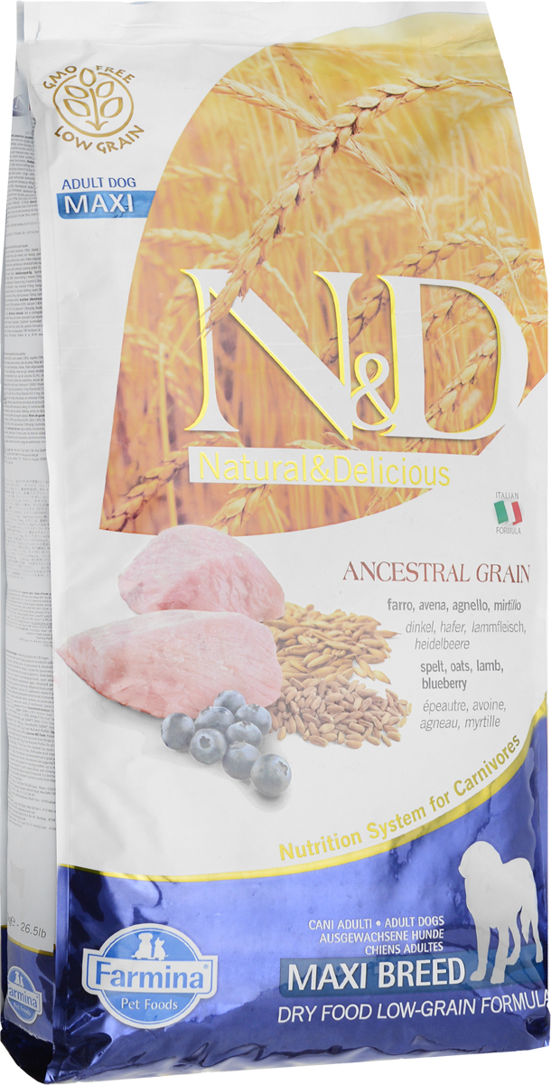 Корм сухой Farmina N&D для собак крупных пород, низкозерновой, с ягненком и черникой, 12 кг корм для собак хиллс d d при аллергии утка рис сух пак 5кг