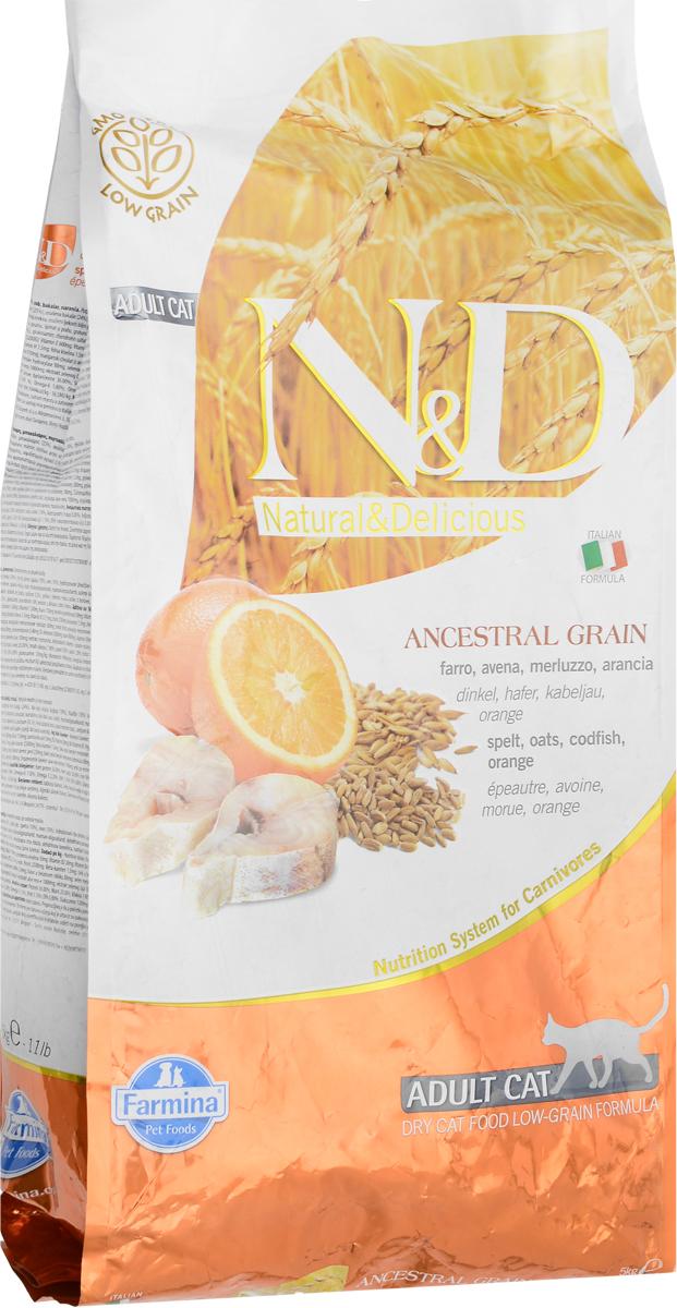 Корм сухой Farmina N&D для взрослых кошек, низкозерновой, с треской и апельсином, 5 кг корм для кошек сенсибл 0 4 кг