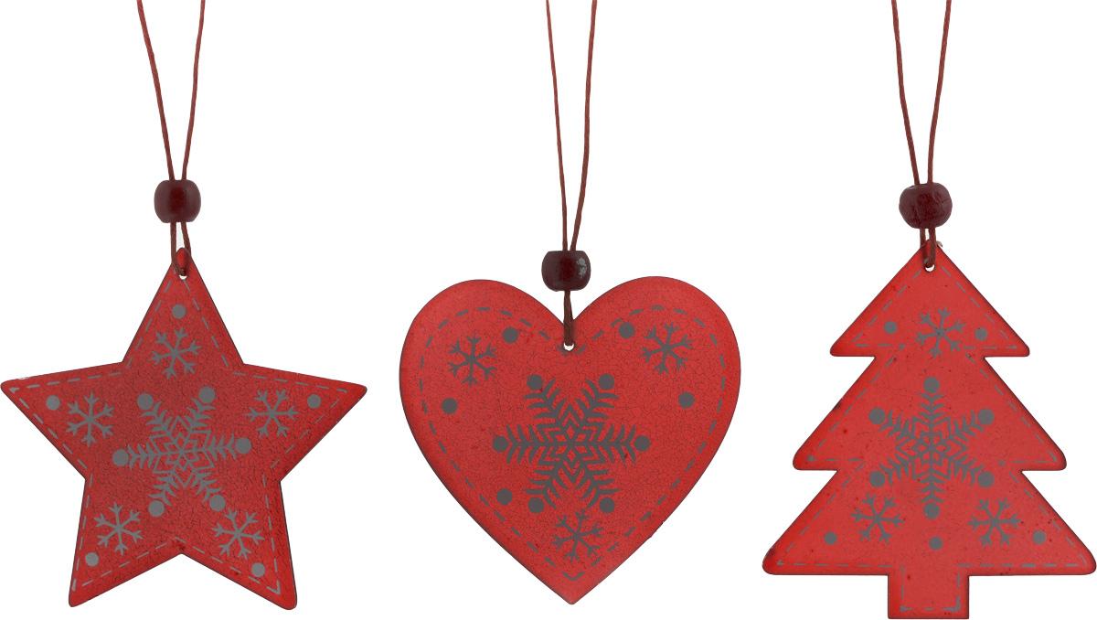 Набор новогодних подвесных украшений House & Holder Новогодний, цвет: красный, белый, 3 штDP-C40-13-15948_красный, белыйНабор подвесных украшений House & Holder Новогодний прекрасно подойдет для праздничного декора новогодней ели. Набор состоит из 3 пластиковых украшений в виде звезды, сердца, ели. Для удобного размещения на елке для каждого украшения предусмотрено петелька. Елочная игрушка - символ Нового года. Она несет в себе волшебство и красоту праздника. Создайте в своем доме атмосферу веселья и радости, украшая новогоднюю елку нарядными игрушками, которые будут из года в год накапливать теплоту воспоминаний. Откройте для себя удивительный мир сказок и грез. Почувствуйте волшебные минуты ожидания праздника, создайте новогоднее настроение вашим дорогим и близким.Размер звезды: 8 х 7,5 см.Размер сердца: 7 х 6,5 см.Размер ели: 7 х 8 см.